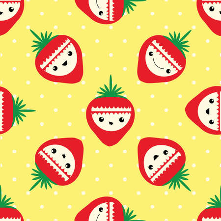 Cute strawberry seamless vector pattern background. Happy smiling and laughing fruit cartoon faces on yellow polka dot backdrop. Fun illustration for kids healthy food concept. All over print.