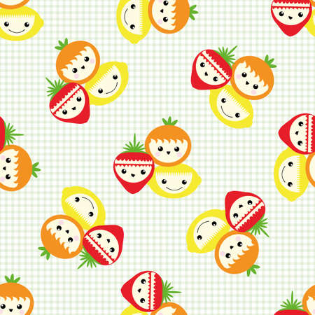 Cute fruit seamless vector pattern background. Happy laughing groups of cartoon strawberries, oranges lemons on gingham backdrop. Fun illustration for kids healthy food concept. All over print. Illusztráció