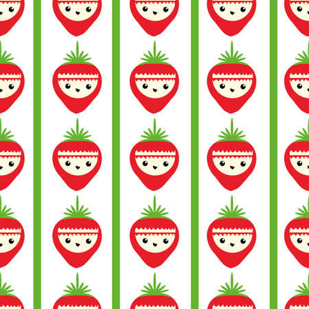 Cute strawberry seamless vector pattern background. Backdrop with happy smiling and laughing fruit cartoon faces and alternating stripes Fun all over print design for kids healthy food concept.