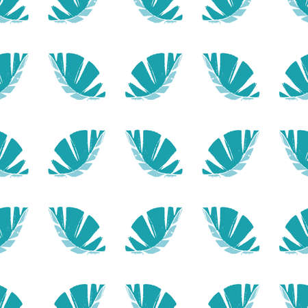 Geometric mono print style leaves seamless pattern background. Textured cut out aqua blue foliage on white backdrop. Hand crafted painterly symmetrical design. All over print for spa, wellbeing
