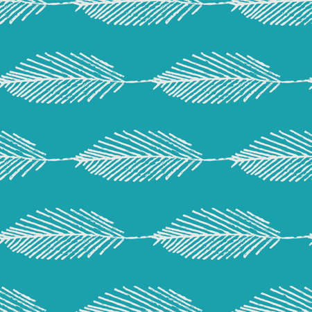 Mono print style leaves seamless pattern background. Horizontal rows of simple white lino cut effect foliage on aqua blue backdrop. At home hand crafted design concept. Geometric repeat.
