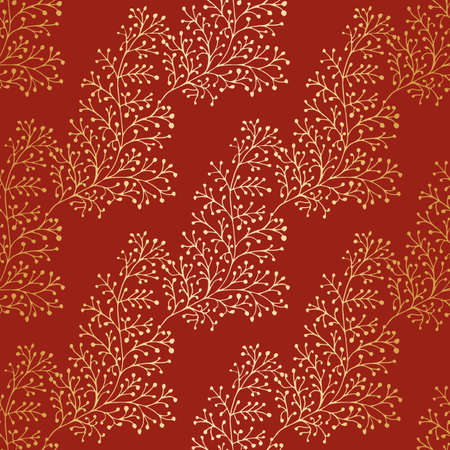 Jacquard effect wild meadow grass seamless pattern background. Gold and red metal foil effect backdrop of leaves, geometric damask design. Botanical baroque foliage repeat for festive products