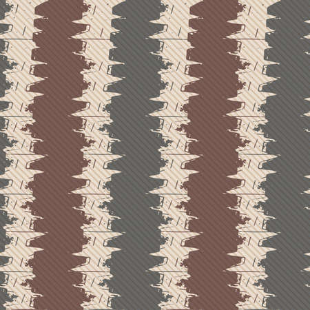 Vector woven fabric striped texture seamless pattern background. Vertical brown zig zag weave style geometric stripe backdrop. Abstract chevron modern design. Homespun all over print for fall, winter