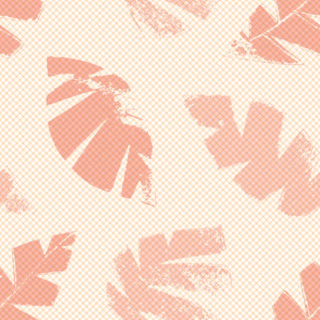 Mono print style scattered leaves seamless pattern background. Textured cut out foliage in shades of pink on pastel backdrop. Hand crafted painterly grunge design. All over print for wellbeing