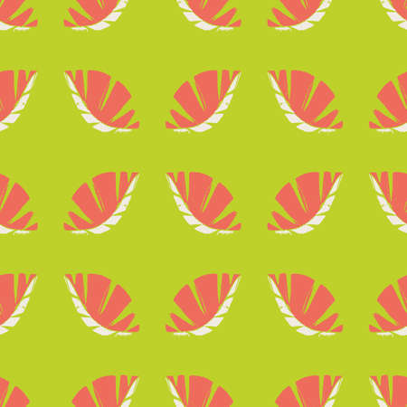 Geometric mono print style leaves seamless vector pattern background. Textured cut out coral color white foliage on green backdrop. Hand crafted painterly tropical design. All over print for vacation Illusztráció