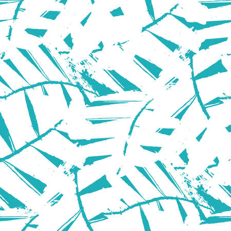 Abstract mono print style white and aqua blue tropical leaves seamless vector pattern background. Texture backdrop with overlapping layered cut out foliage. Painterly botanical all over print