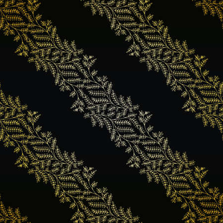 Jacquard effect wild meadow grass seamless vector pattern background. Gold black backdrop of leaves in elegant diagonal stripe geometric damask design. Botanical baroque foliage all over print
