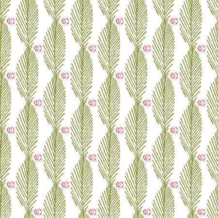 Mono print style leaves berries seamless vector pattern background. Vertical columns of green lino cut effect foliage and abstract fruit shapes on white backdrop. At home hand crafted festive concept Illusztráció