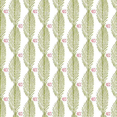 Mono print style leaves berries seamless vector pattern background. Vertical columns of green painterly foliage and abstract fruit shapes on white backdrop. At home hand crafted festive concept Illusztráció