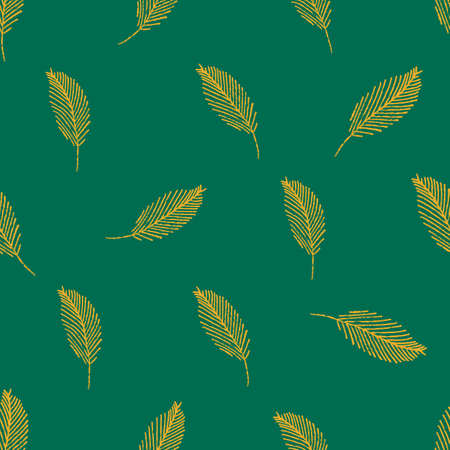 Mono print style leaves seamless vector pattern background. Scattered yellow painterly foliage on green backdrop. At home hand crafted concept. Minimal design. All over print for packaging, giftwrap