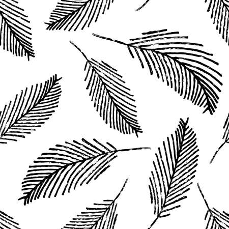 Mono print style scattered leaves seamless vector pattern background. Simple lino cut effect painterly leaf foliage on white backdrop. At home hand crafted design concept. Minimal repeat for packaging