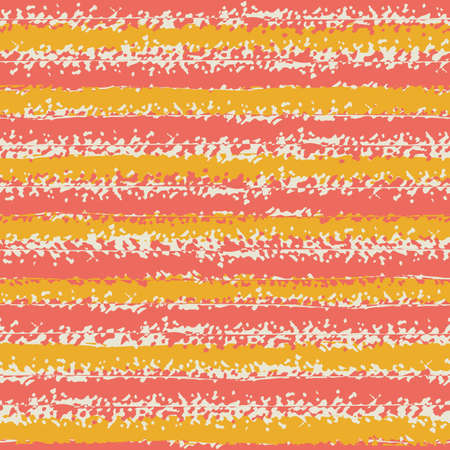 Modern grunge striped vector seamless pattern background. Backdrop of horizontal painterly stripes of pink and orange. Crayon drawing effect. Linear geometric repeat for wellness, summer concept Illusztráció