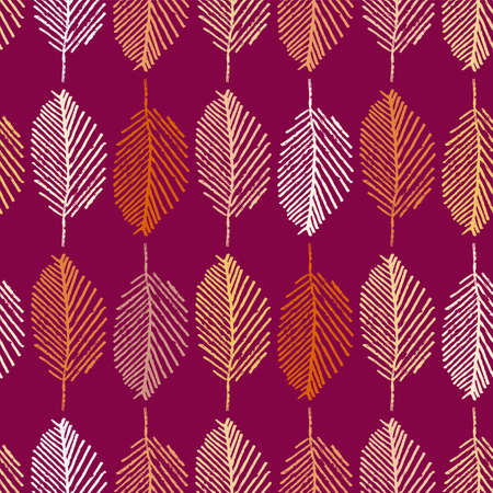 Mono print style leaves seamless vector pattern background. Vertical columns of painterly scribble effect foliage on dark pink backdrop. Geometric at home hand crafted feel. Repeat for summer concept