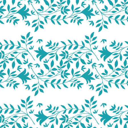 Elegant wild meadow grass seamless vector pattern background. Stylized aqua blue leaves in horizontal rows on white backdrop. Geometric damask style design. Botanical foliage all over print.