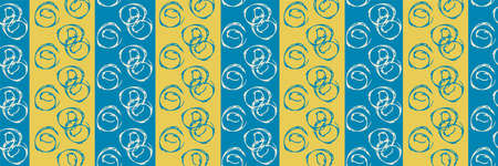 Vector scribbled abstract circles seamless striped border. Banner of hand drawn round groups of ink line spirals on backdrop of blue and yellow vertical thick stripes. Design for ribbon, edging, trim