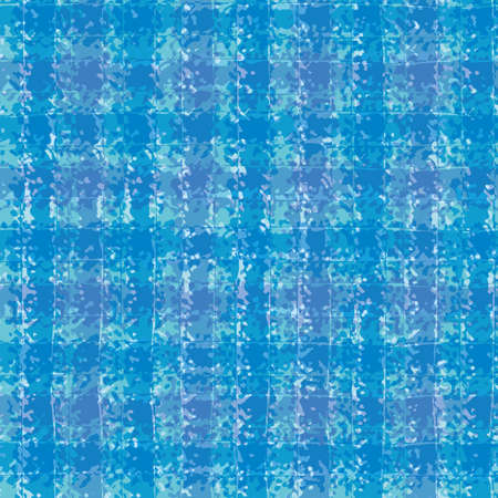 Vector cotton weave texture seamless pattern background. Organic watercolor brush stroke effect aqua blue woven check backdrop. Modern fabric cloth style all over print for beach, vacation concept