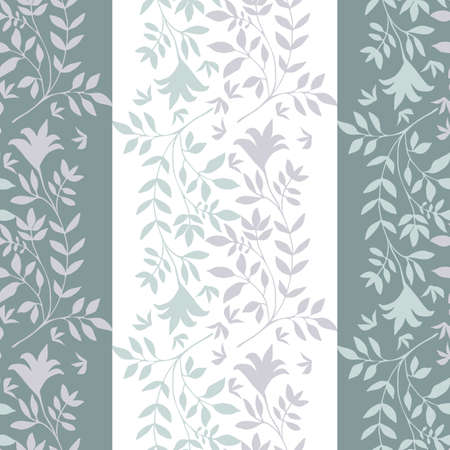 Elegant jacquard effect wild meadow grass seamless vector pattern background. Striped lilac, teal, white backdrop of leaves geometric damask design. Botanical baroque foliage all over print.