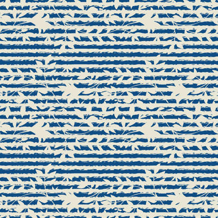 Abstract striped and wild meadow grass seamless vector pattern background. Painterly blue stripes and blended beige leaves backdrop. Geometric damask style repeat. Botanical foliage all over print.