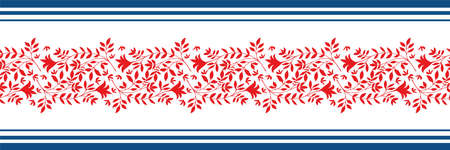 Vector border with damask style wild meadow and striped edging. Stylized red leaves in horizontal rows on white backdrop. Geometric damask style design. Botanical foliage illustration for ribbon, trim Illusztráció