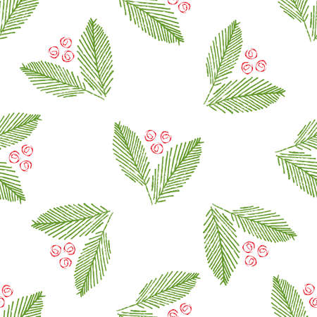 Mono print style abstract leaves and berries seamless vector pattern background. Scattered green painterly foliage and red fruit circle shapes on white backdrop. Hand drawn design for festive concept