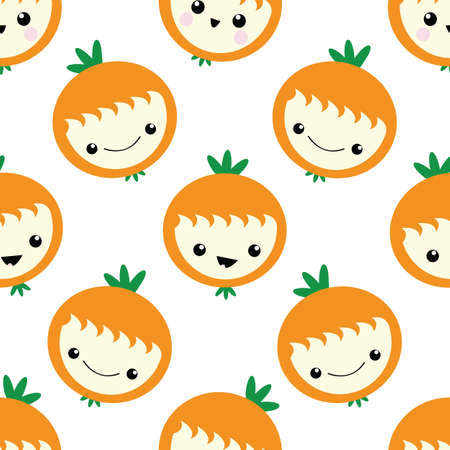 Cute kawaii oranges seamless vector pattern background. Happy smiling and laughing fruit cartoon faces on white backdrop. Fun quirky illustration for kids healthy food concept. All over print Illusztráció