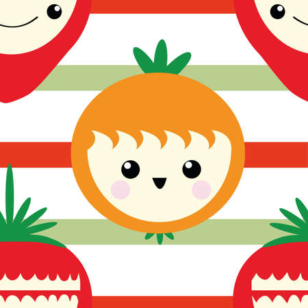 Cute kawaii oranges and strawberry seamless vector pattern background. Happy smiling and laughing fruit cartoon faces on striped backdrop. Fun design for kids healthy food concept. All over print. Illusztráció