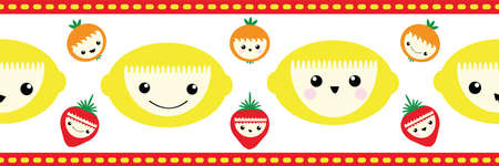 Cute kawaii tropical fruit seamless vector border. Banner of happy smiling cartoon lemons, strawberries, oranges on white backdrop with stitch stripe edging. Fun design for kids healthy food concept