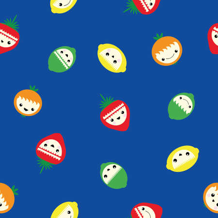 Cute kawaii citrus fruit and strawberry seamless vector pattern background. Laughing cartoon lemons, limes, oranges, berries on cobalt blue backdrop. Fun faces design for kids. All over print.