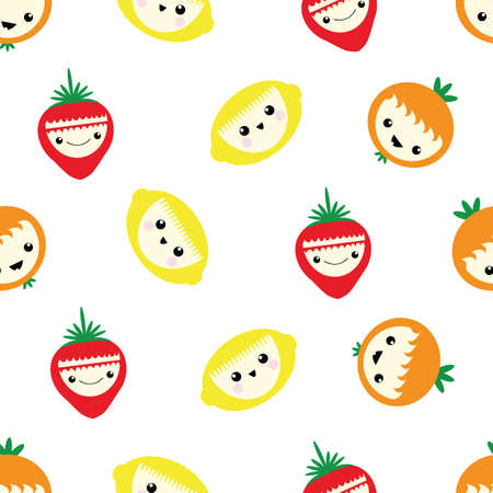 Cute kawaii citrus fruit and strawberry seamless vector pattern background. Laughing cartoon lemons, oranges, berries on white backdrop. Fun quirky face all over print for kids healthy food concept.