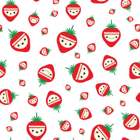 Cute kawaii strawberry seamless vector pattern background. Happy smiling and laughing berry cartoon faces on white backdrop. Fun quirky illustration.All over print for kids summer healthy food concept