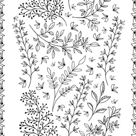 Elegant line art wild meadow grass seamless vector pattern background. Black and white backdrop of scattered leaves victorian style vertical geometric design. Botanical foliage all over print.