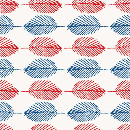 Mono print style leaves seamless vector pattern background. Horizontal rows of navy blue red scribble effect foliage on white backdrop. Geometric hand crafted repeat for summer or Americana concept