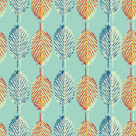 Mono print style leaves seamless vector pattern background. Vertical columns of blue, orange scribbled foliage in litho offset color style on pastel teal backdrop. Geometric hand drawn all over print