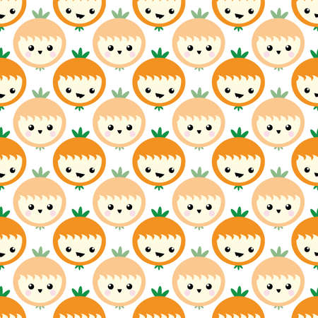 Cute kawaii oranges seamless vector pattern background. Laughing cartoon tropical citrus fruit on white backdrop. Fun quirky faces design. Geometric all over print for kids healthy food concept.