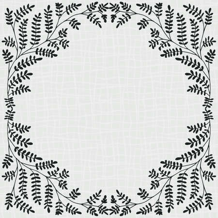Wild meadow grass floral frame. Hand drawn ornamental leaves on scribbled grid line art texture background with space for copy text. Modern geometric botanical design. Black and white illustration.