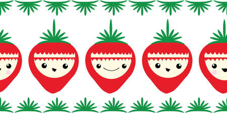 Cute kawaii strawberry vector border. Banner of happy smiling cartoon red berries on white backdrop with green leaf edging. Graphic illustration. Fun design for kids healthy food concept, packaging Illusztráció