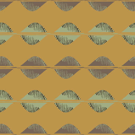 Mono print style tribal foliage seamless vector pattern background. Simple lino cut effect horiontal rows of offset leaves brown mint green backdrop. Geometric repeat.At home crafted design concept