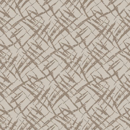 Vector burlap effect seamless pattern background. Hessian fiber texture fabric style beige and brown grid backdrop. Woven linen cloth criss cross design. Modern cotton weave material all over print