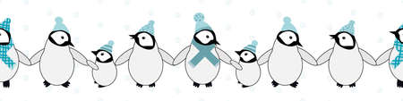 Vector border with cute Kawaii penguin babies. Cartoon emperor chicks with blue hats and scarves standing in a row, holding wings on antarctic white backdrop. Winter themed banner for edging, ribbon
