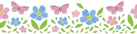 Forget-Me-Not floral and butterfly seamless border . Beautiful banner of painterly watercolor effect pink blue mysotis flowers and insects . Hand drawn botanical design. For ribbon, trim, edging