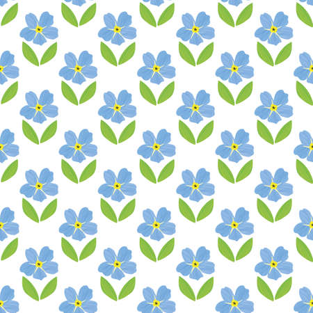Blue Forget-Me-Not floral seamless pattern background. Beautiful backdrop of painterly  effect groups of mysotis flowers. botanical design. All over print for spring concept