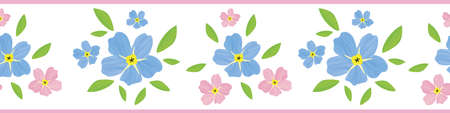 Forget-Me-Not floral seamless border . Beautiful banner of painterly effect groups of pink blue mysotis flowers. botanical design. For ribbon, trim, edging spring concept
