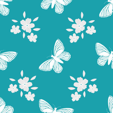 Forget-Me-Not floral and butterfly seamless vector pattern background. Pastel painterly  effect white mysotis flowers clusters and flying insects on aqua blue backdrop. Botanical repeat.