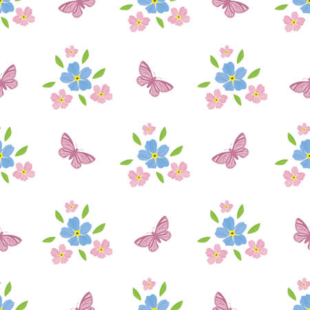 Forget-Me-Not floral and butterfly seamless vector pattern background. effect pink blue mysotis flowers and insects on white backdrop. botanical all over print Ilustração