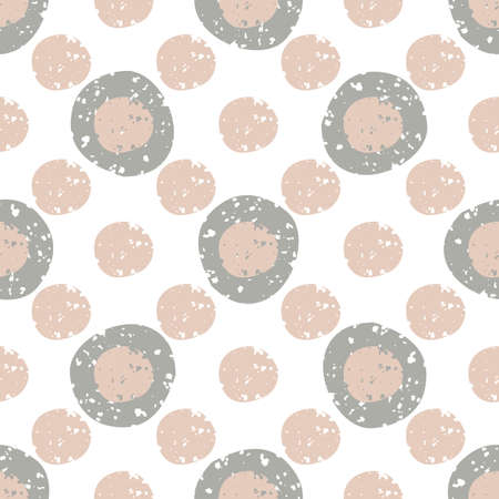 Abstract grunge textured pebble seamless vector pattern background. Monochrome pink and brown flecked stone shapes on white backdrop. Geometric freehand round rock elements All over print for wellness