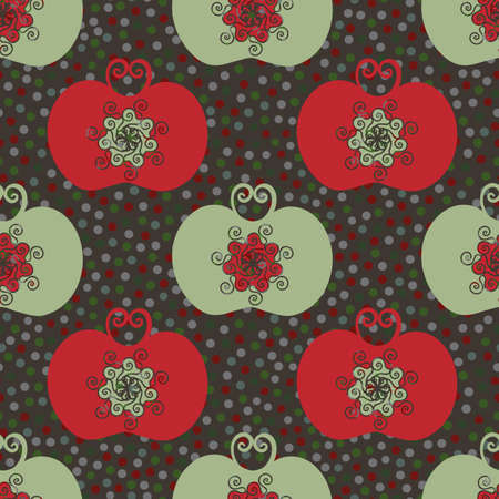Stylized red and green apple seamless vector pattern background. Luxury orchard fruit in Jacobean style on polka dot textured brown backdrop. Folk art Baroque design style. Historical all over print Vettoriali