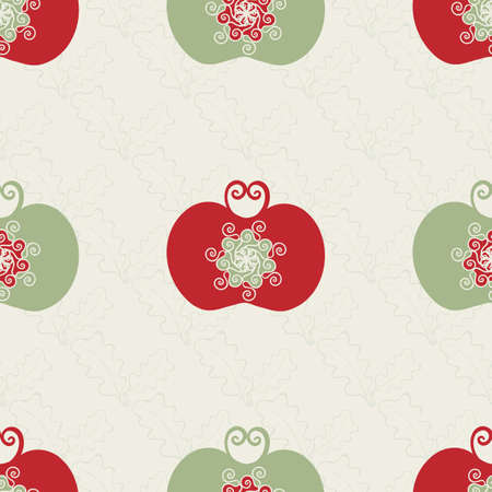 Stylized red and green apple seamless vector pattern background. Luxury orchard fruit in Jacobean style on neutral beige backdrop. Spacious folk art Baroque design style. Historical all over print