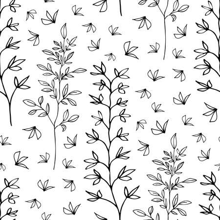 Wild meadow grass and leaves seamless vector pattern background. Line art foliage branches and individual leaves dense black and white backdrop. Hand drawn botanical all over print for wellbeing