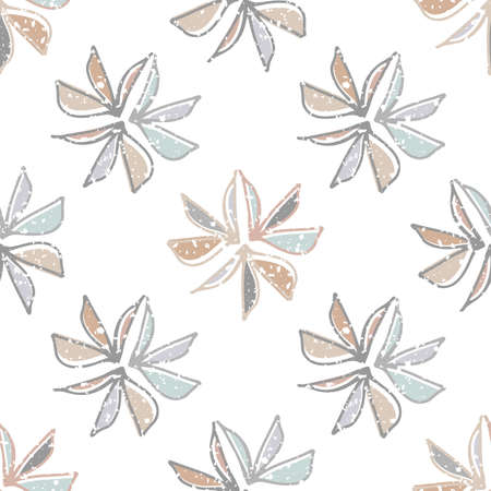 Abstract wild meadow leaves seamless vector pattern background. Backdrop with pastel line art textured foliage and offset color Hand drawn modern botanical illustration. Geometric all over print