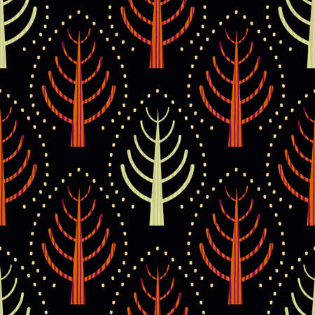 Summer solstice trees folk art seamless vector pattern background. Modern Scandinavian forest red green motifs on black backdrop. Hand drawn stylized textured geometric damask style all over print.